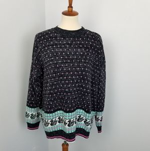 Vintage Oversized Swan Print Pullover Sweater XL
